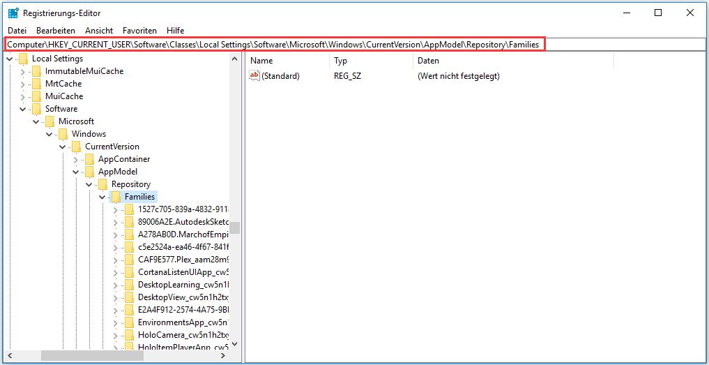 Dateien im Registrierungs-Editor-Fenster