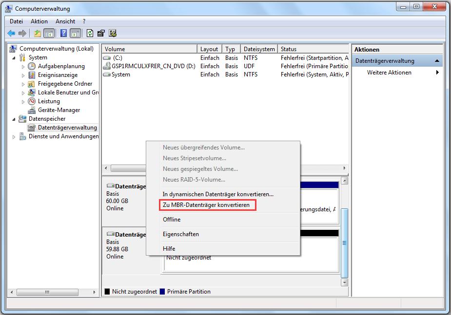 Zu MBR-Datenträger konvertieren