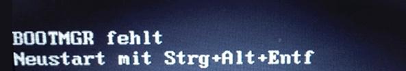 Fehlermeldung BOOTMGR fehlt