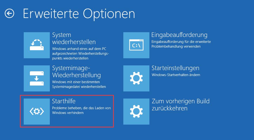 Starthilfe in WinRE Windows 10