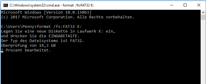format N:/fs:FAT32 in cmd