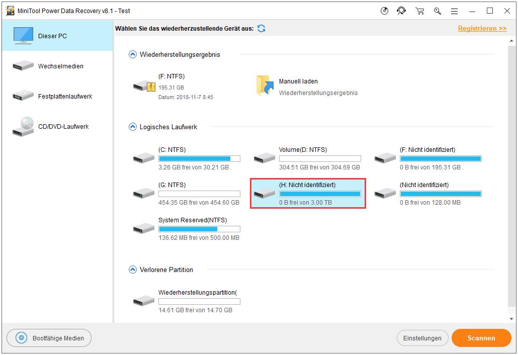 unformatierte externe Festplatte auswählen