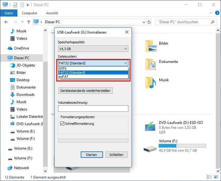 Mit Windows-Explorer formatieren