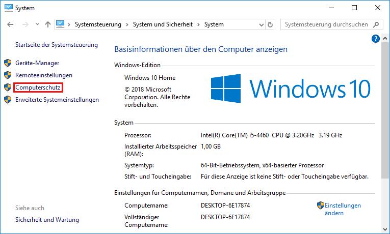 Computerschutz wählen