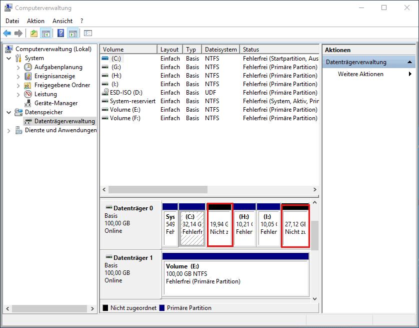 Layout der Datenträgerverwaltung