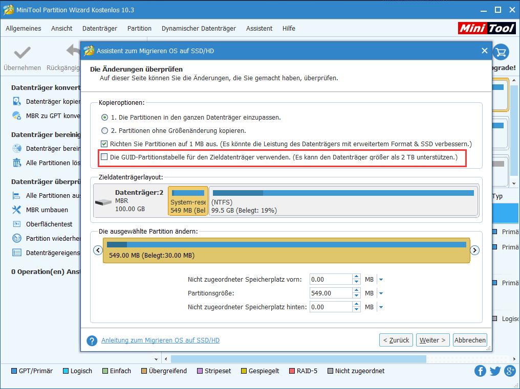 GUID-Partitionstabelle für den Zieldatenträger verwenden