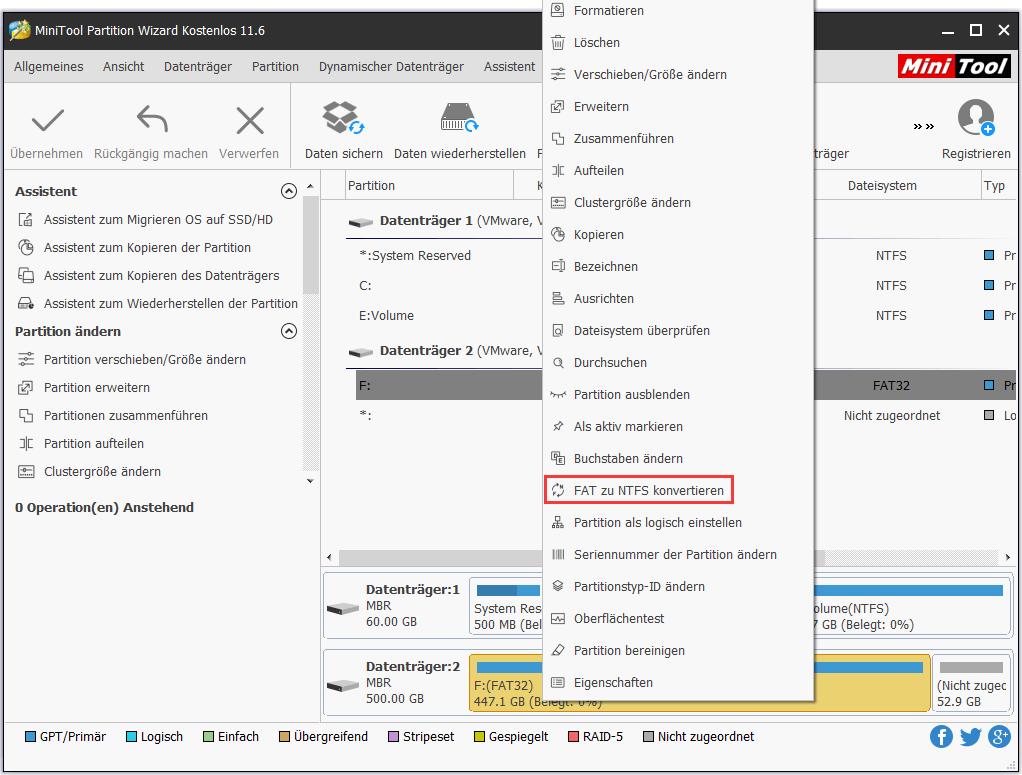 FAT zu NTFS konvertieren