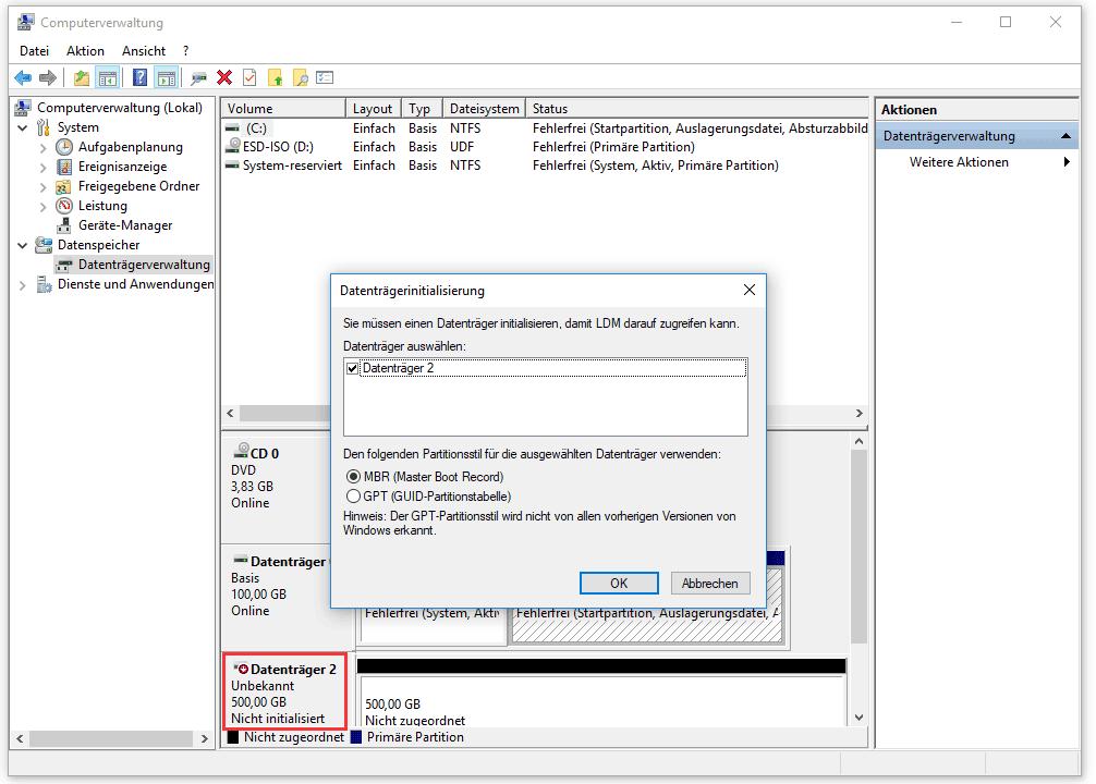 Datenträger nicht initialisiert