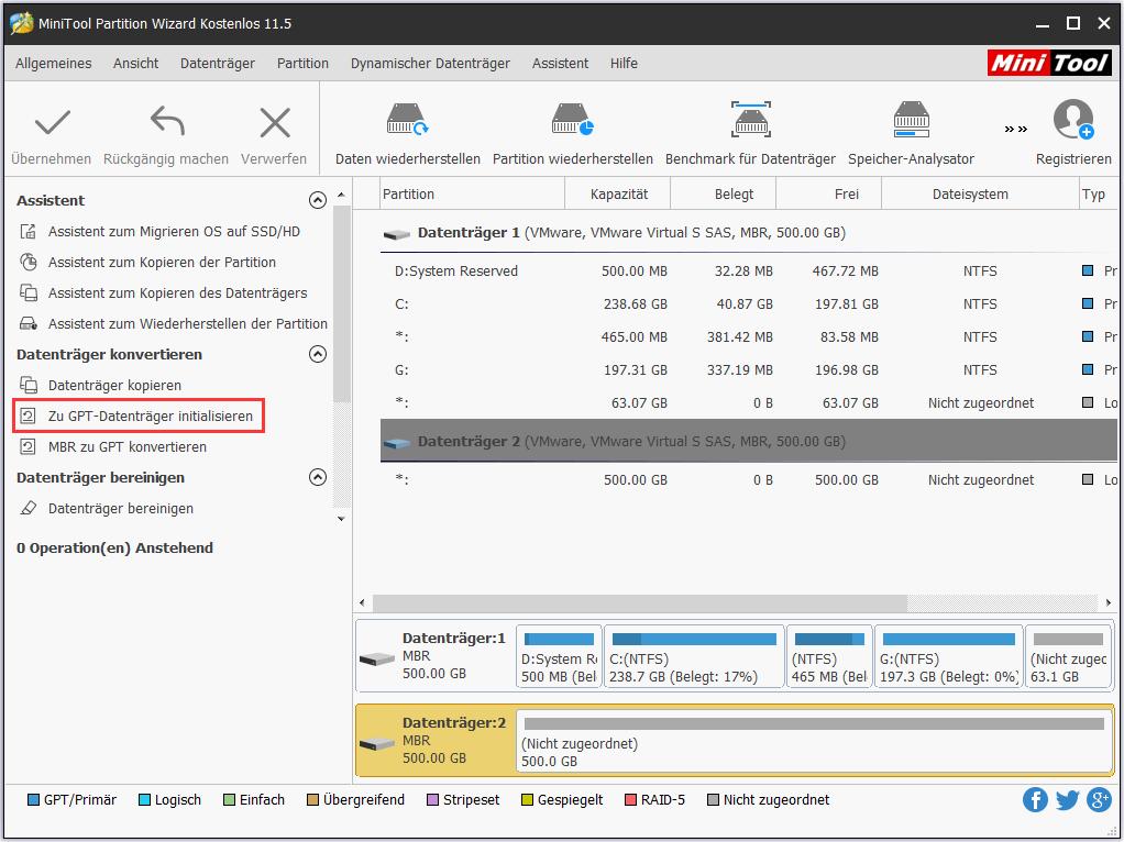 Zu GPT-Datenträger initialisieren