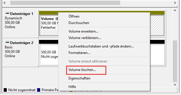Volume löschen