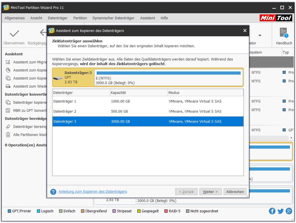 """Schritt 2: In dem Pop-Fenster wählen Sie eine Festplatte als Zieldatenträger, alle Daten auf dem Quelldatenträger zu speichern. Dann klicken Sie auf """"Weiter"""", um fortzusetzen. Beachten Sie, dass alle auf dem Zieldatenträger gespeicherten Daten zerstört werden, falls einige vorhanden sind. Deshalb stellen Sie sicher, dass der Zieldatenträger für eine Sicherung bereit ist. Wenn nicht, können Sie zuerst die wichtigen Dateien auf andere Lage übertragen."""