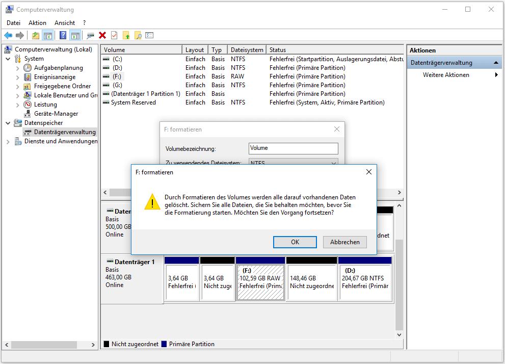 Formatieren in der Datenträgerverwaltung
