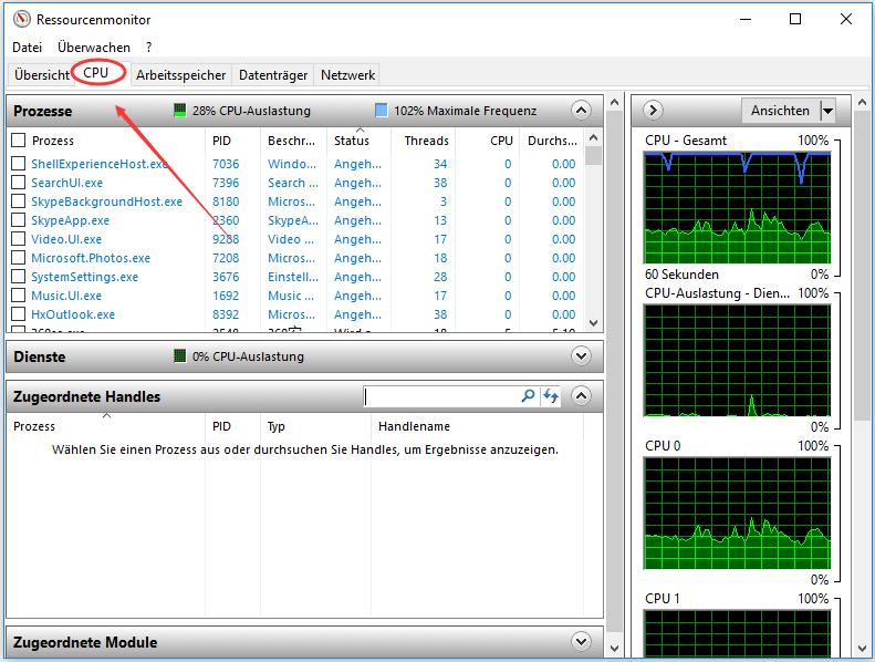 auf CPU klicken