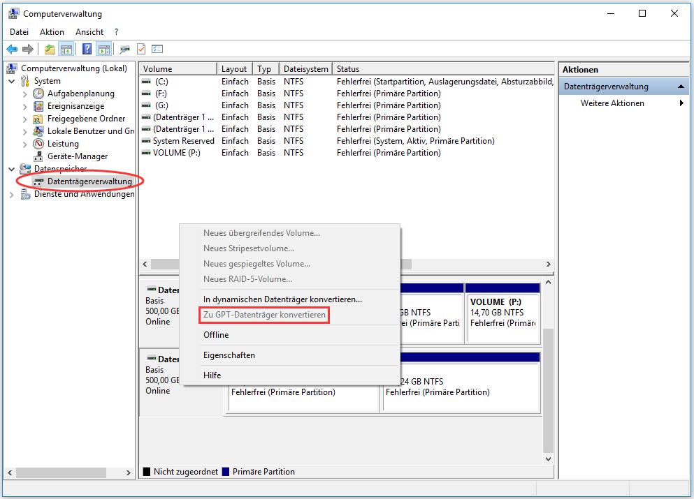 Zu GPT-Datenträger konvertieren ist ausgegraut