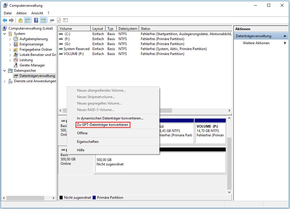 Zu GPT-Datenträger konvertieren