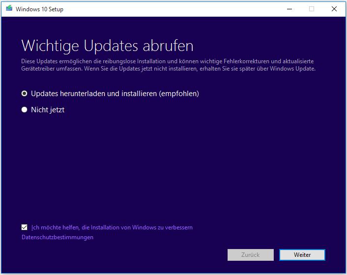 Updates herunterladen und installieren (empfohlen)