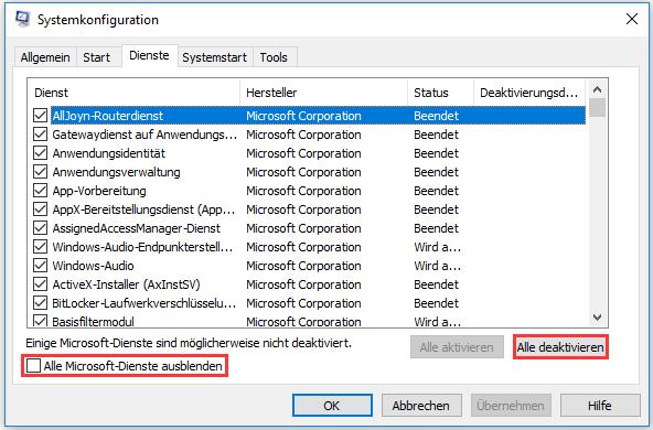 Alle Dienste außer Microsoft-Diensten deaktivieren