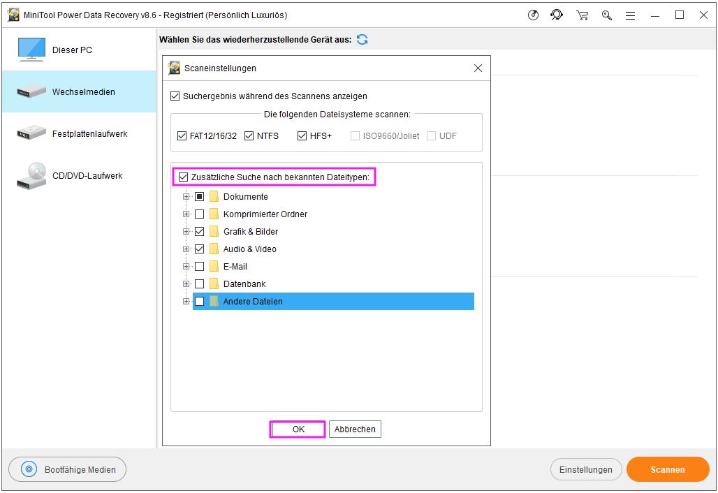 Die Funktion Einstellungen verwenden, um die Dateitypen zu beschränken