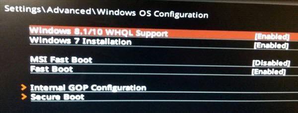 Einstellungen für Windows 8.1/10 WHQL Support