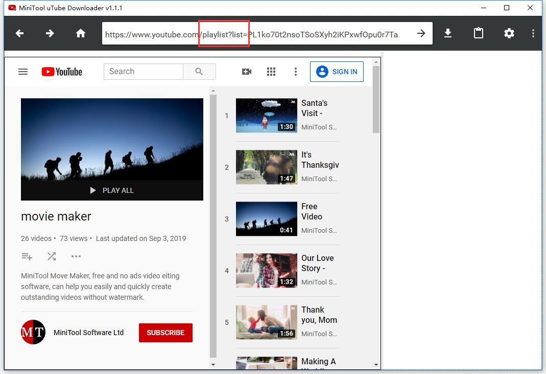 die URL der YouTube-Playlist eingeben