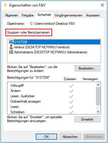 Eigenschaften von der zu öffnenden Datei