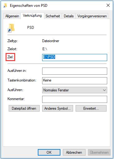 Speicherort von der Verknüpfung der Datei überprüfen