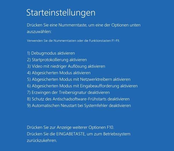 Eingabeaufforderung Windows 10-abgesicherter Modus