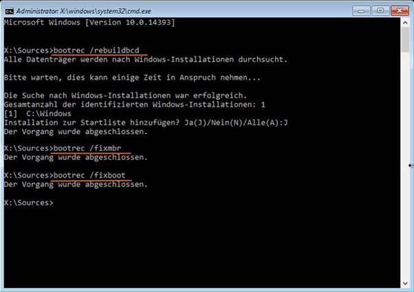 Windows 10-Startreparatur anhand Eingabeaufforderung