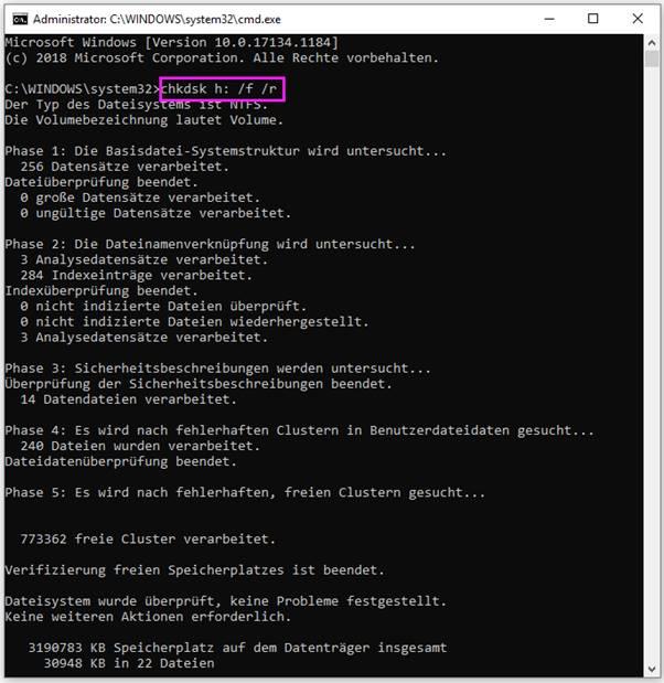 Verwenden Sie den Befehl CHKDSK, um Windows 10 zu reparieren