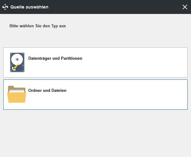 So sichern Sie die Datenträger oder Partitionen, indem Sie auf die erste Option klicken