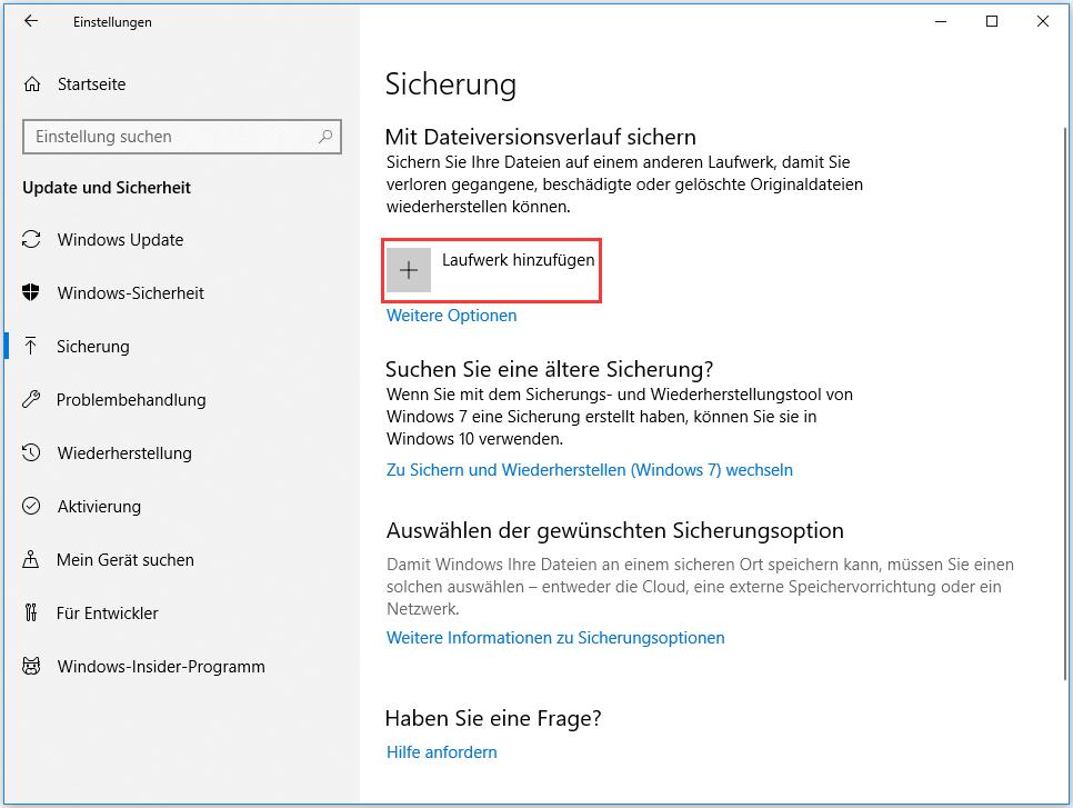 Mit Dateiversionsverlauf sichern