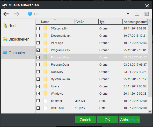 Zu sichernde Dateien ankreuzen