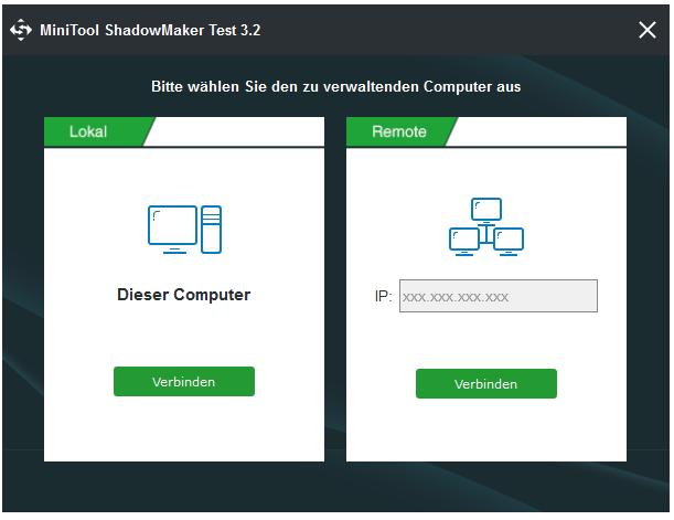 Klicken Sie auf Verbinden, um den zu verwaltenden lokalen Computer auszuwählen