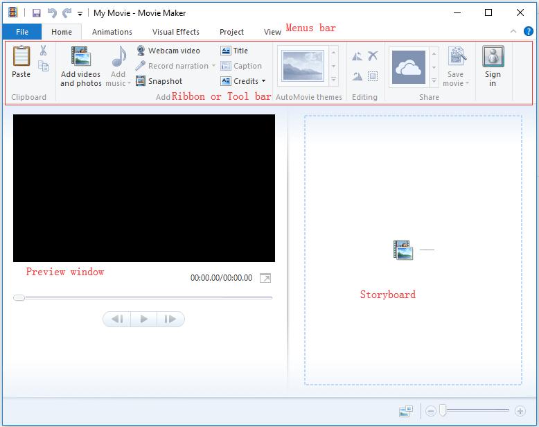 Die Hauptoberfläche von Windows Movie Maker