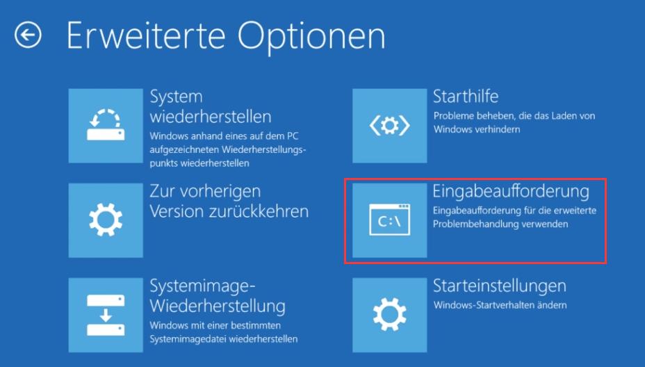 Eingabeaufforderung unter Windows 10