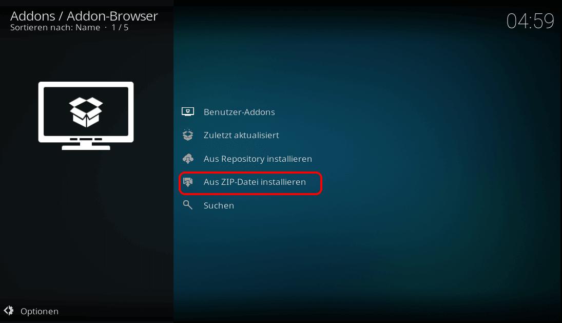 Aus Zip-Datei installieren