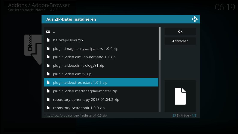 Wählen Sie die Zip-Datei aus und klicken Sie auf OK