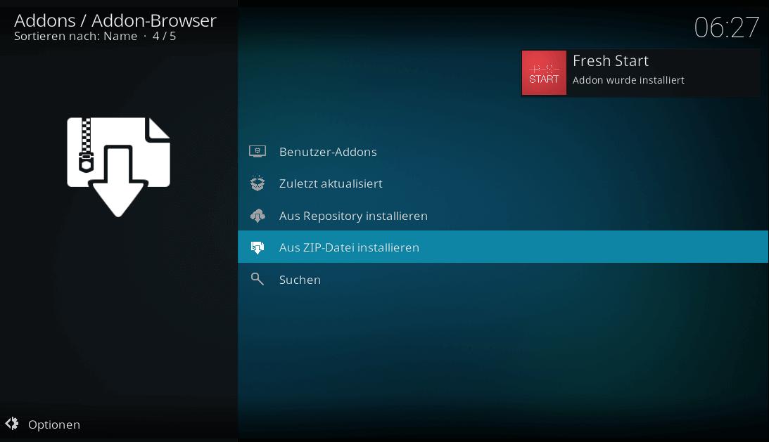 Fresh Start Addon wurde installiert