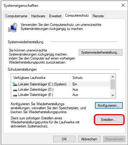 Wiederherstellungspunkt Erstellen Windows 10