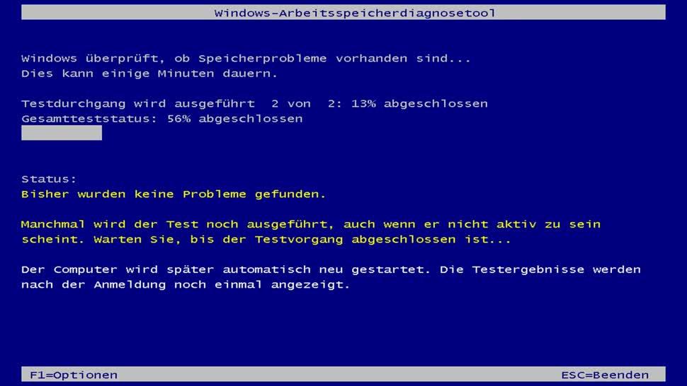 Windows-Arbeitsspeicherdiagnosetool wird ausgeführt