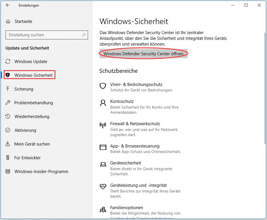 Windows Defender Security Center öffnen
