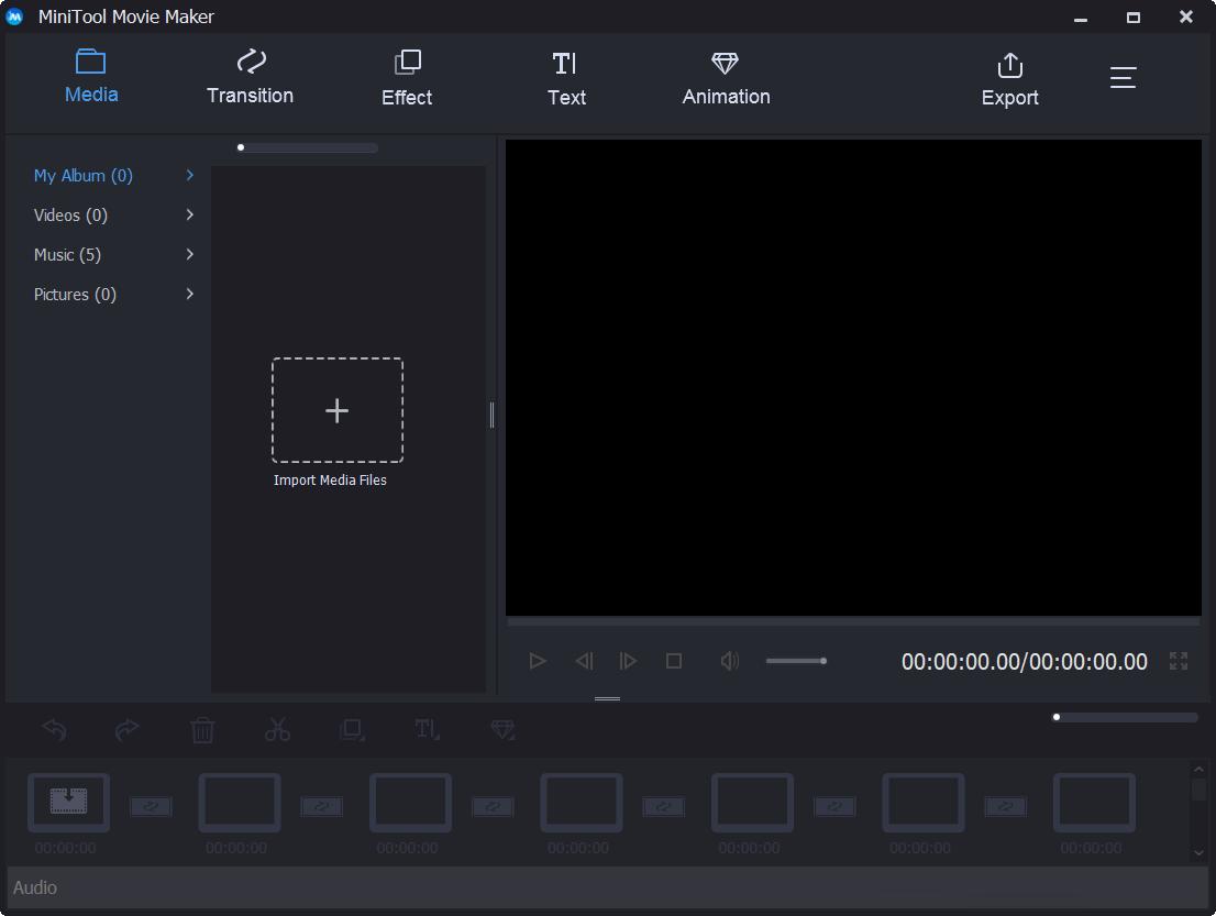 Hauptschnittstelle von MiniTool Movie Maker