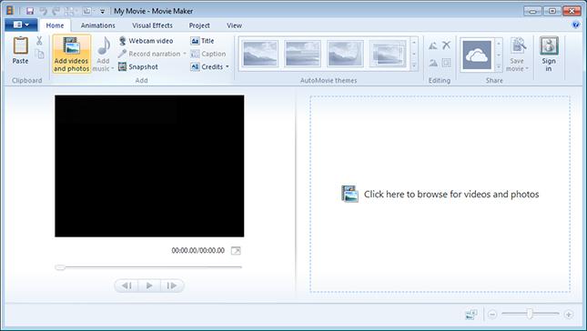 Hauptschnittstelle von Windows Movie Maker