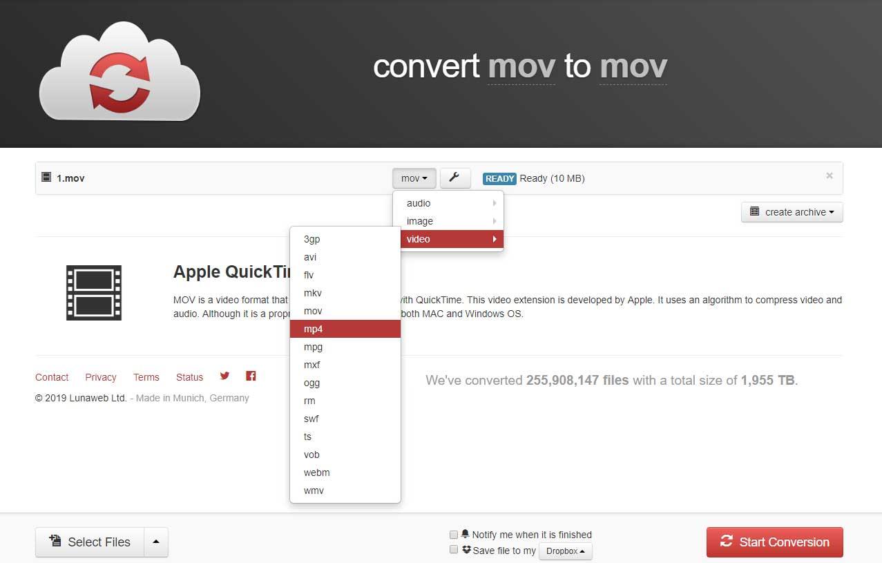 Cloudconvert konvertiert MOV zu MP4 and umgekehrt