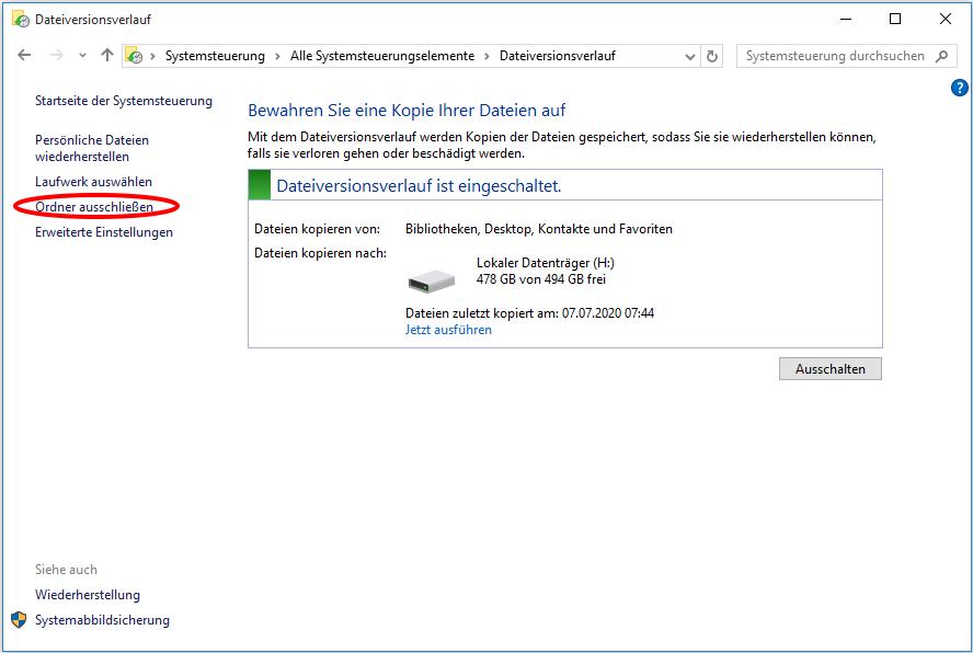 Dateiversionsverlauf Windows 7