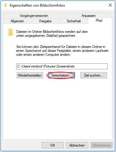 Speicherort von Bildschirmfotos ändern